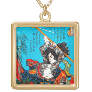 Cool oriental japanese Ancient Samurai Warrior Jo Gold Plated Necklace