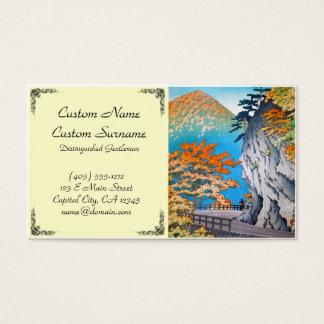 Cool oriental japanese autumn mountain road hanga business card