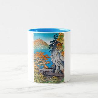 Cool oriental japanese autumn mountain scenery Two-Tone coffee mug