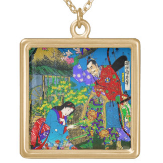 Cool oriental japanese beautiful geisha garden art gold plated necklace