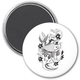 Cool Oriental Japanese Black Ink Koi Carp Fish 3 Inch Round Magnet