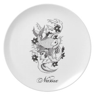 Cool Oriental Japanese Black Ink Koi Carp Fish Melamine Plate