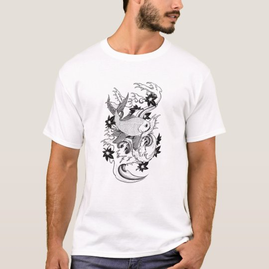 Cool Oriental Japanese Black Ink Koi Carp Fish T-Shirt