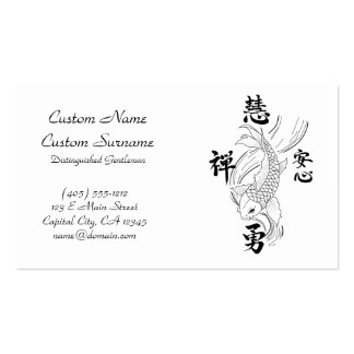 Cool oriental japanese black ink lucky koi fish bu Double-Sided standard business cards (Pack of 100)