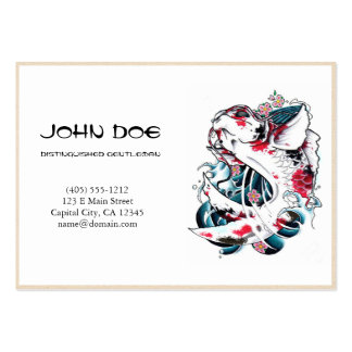 Cool oriental japanese black ink lucky koi fish business card templates