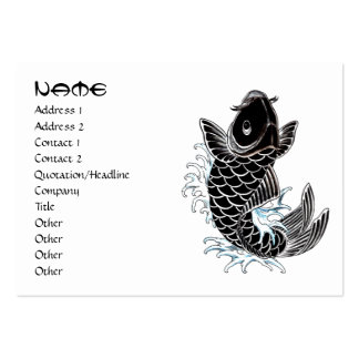 Cool oriental japanese black ink lucky koi fish business card template