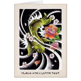 Cool oriental japanese black ink lucky koi fish card