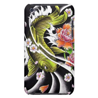 Cool oriental japanese black ink lucky koi fish barely there iPod cases
