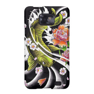 Cool oriental japanese black ink lucky koi fish samsung galaxy SII cases