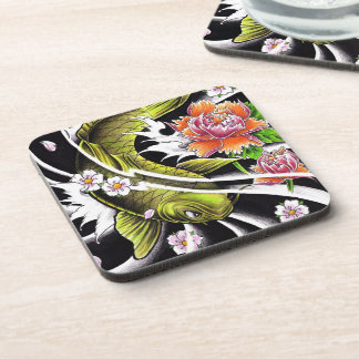 Cool oriental japanese black ink lucky koi fish coasters