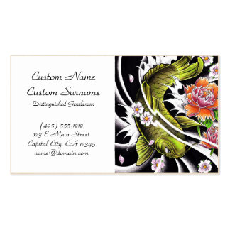 Cool oriental japanese black ink lucky koi fish Double-Sided standard business cards (Pack of 100)