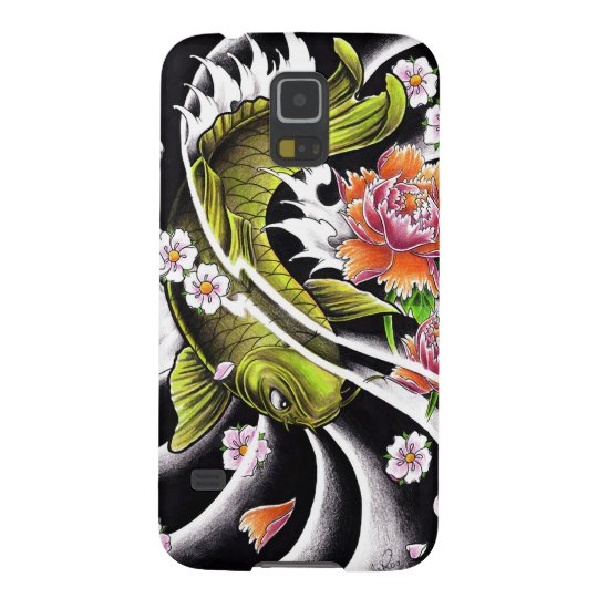 Cool oriental japanese black ink lucky koi fish galaxy s5 for Cool koi fish