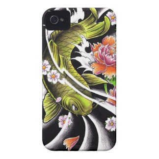 Cool oriental japanese black ink lucky koi fish iPhone 4 Case-Mate case