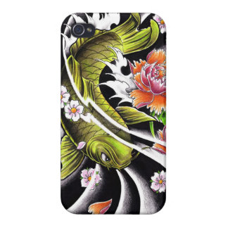 Cool oriental japanese black ink lucky koi fish iPhone 4 cover