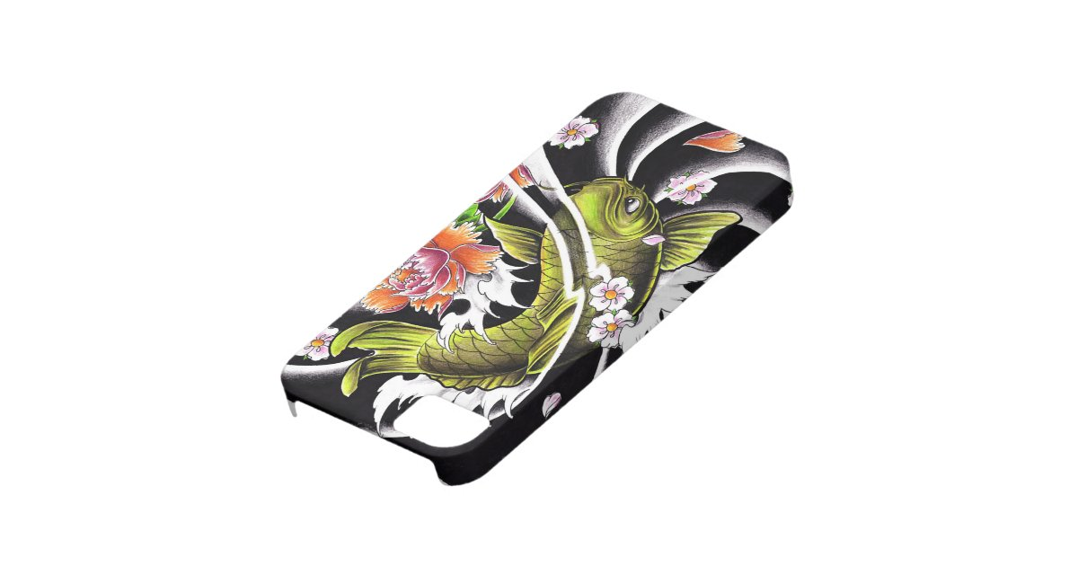 Cool oriental japanese black ink lucky koi fish iphone 5 for Lucky koi fish