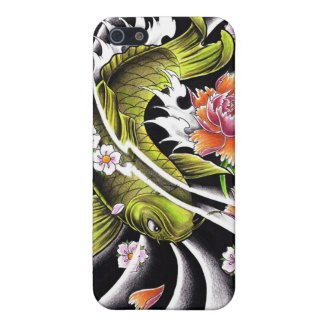 Cool oriental japanese black ink lucky koi fish case for iPhone 5