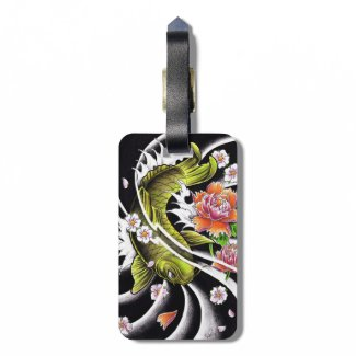 Cool oriental japanese black ink lucky koi fish travel bag tags