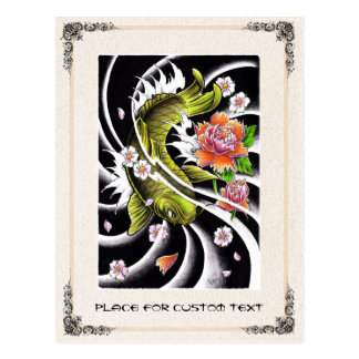 Cool oriental japanese black ink lucky koi fish postcard