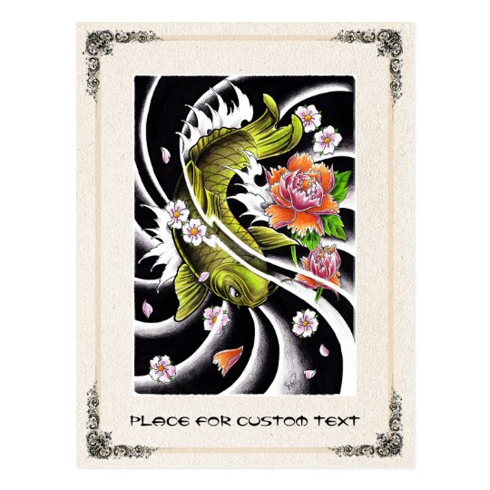 Cool oriental japanese black ink lucky koi fish postcard