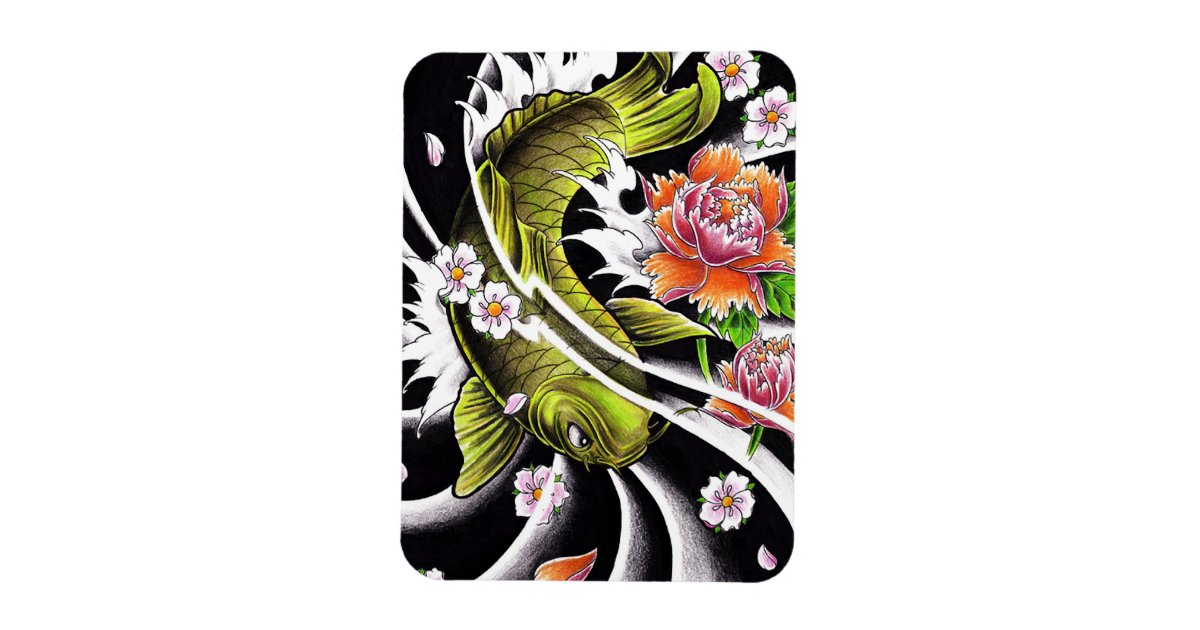 Cool oriental japanese black ink lucky koi fish for Lucky koi fish