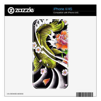 Cool oriental japanese black ink lucky koi fish skin for iPhone 4