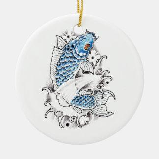 Cool Oriental Japanese Blue Koi Carp Fish tattoo Ceramic Ornament