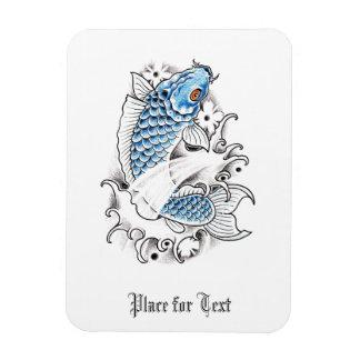 Cool Oriental Japanese Blue Koi Carp Fish tattoo Magnet