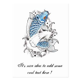 Cool Oriental Japanese Blue Koi Carp Fish tattoo Postcard