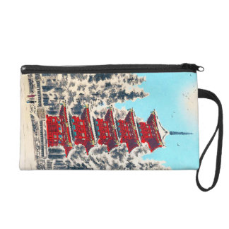 Cool oriental japanese clasic ancient shrine art wristlet clutch