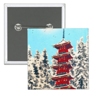 Cool oriental japanese clasic ancient shrine art pinback buttons