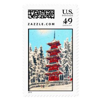 Cool oriental japanese clasic ancient shrine art postage stamp