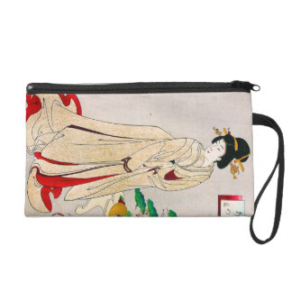 Cool oriental japanese clasic geisha lady art wristlet clutches