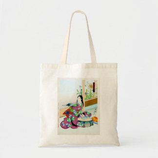 Cool oriental japanese clasic geisha lady art tote bags