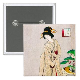 Cool oriental japanese clasic geisha lady art pinback buttons