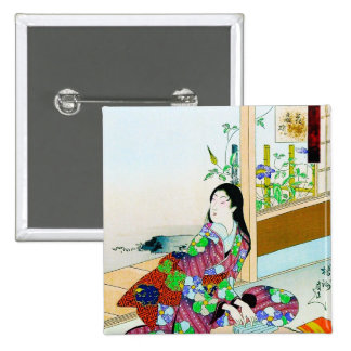 Cool oriental japanese clasic geisha lady art pinback button