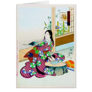 Cool oriental japanese clasic geisha lady art card