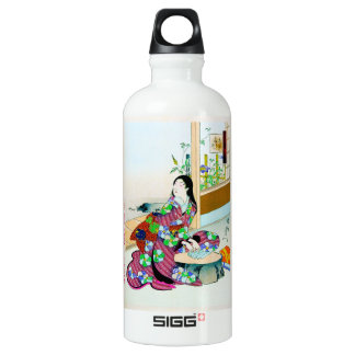 Cool oriental japanese clasic geisha lady art water bottle
