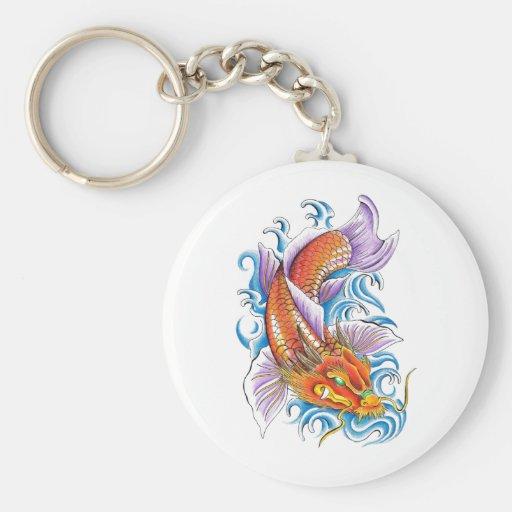 Cool Oriental Japanese Classic Dragon Koi Fish Basic Round Button Keychain