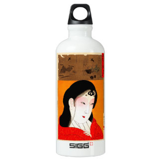 Cool oriental japanese classic geisha lady aluminum water bottle