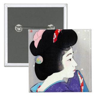 Cool oriental japanese classic geisha lady art pin