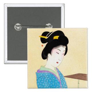 Cool oriental japanese classic geisha lady art pinback button