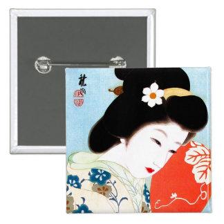 Cool oriental japanese classic geisha lady art button