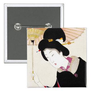 Cool oriental japanese classic geisha lady art pinback buttons