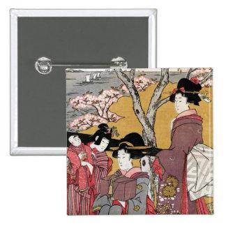 Cool oriental japanese classic geisha lady art buttons