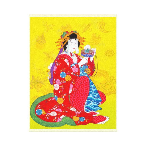 Cool oriental japanese classic geisha lady art stretched canvas print