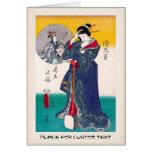 Cool oriental japanese classic geisha lady art cards