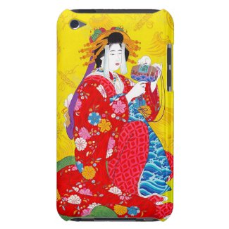 Cool oriental japanese classic geisha lady art barely there iPod case