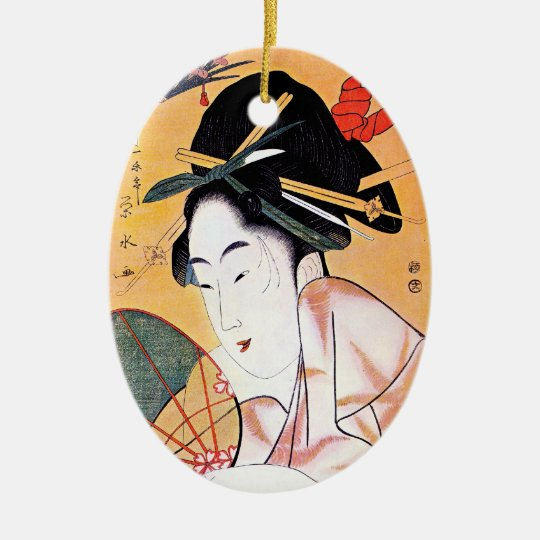 Cool oriental japanese classic geisha lady art ceramic ornament