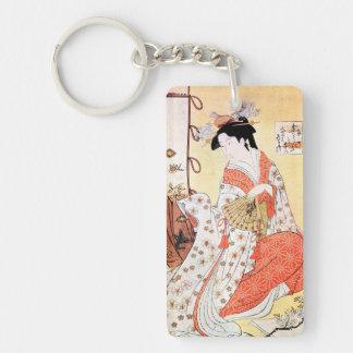 Cool oriental japanese classic geisha lady art coo Double-Sided rectangular acrylic keychain