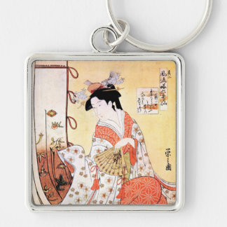 Cool oriental japanese classic geisha lady art coo Silver-Colored square keychain